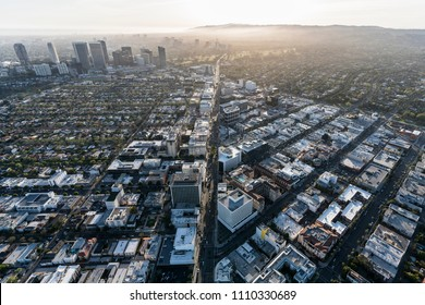 Aerial view of Wilshire Blvd in Beverly Hills with Century City and West Los Angeles in background.