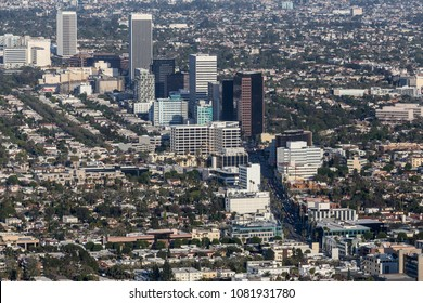 Aerial view of Wilshire Blvd Miracle Mile neighborhood in Los Angeles, California.