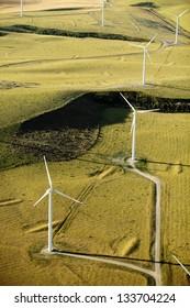 An aerial view of a wind farm