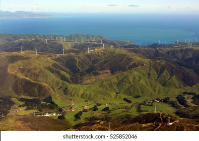 Aerial view of the Wind Farm Electricity generation on the Makara Hills in the western suburbs of Wellington city, New Zealand.