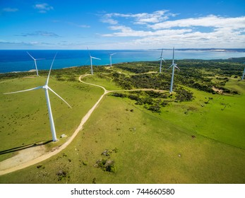 Aerial view of wind farm in rural area on bright sunny day in Australia