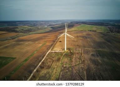Aerial view of wind generators