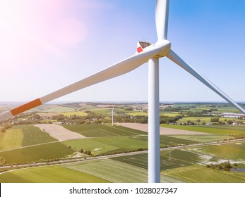 aerial view of a wind turbine