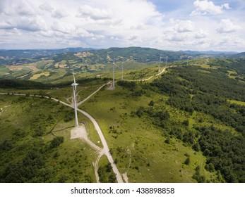Aerial view of wind turbine blades