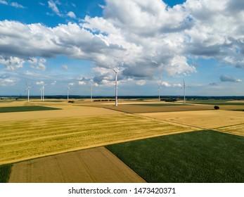 Aerial view of wind turbines in corn fields in Germany