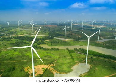 Aerial view of wind turbines farm,sustainable and clean electric power,Future of renewable energy.THAILAND