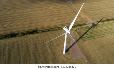 Aerial View of Windmill at Sunset