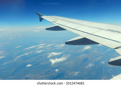 Aerial view from the window of and airplane during a flight