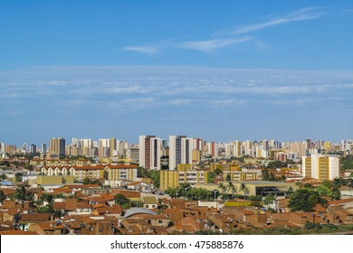 Aerial view from window plane of Fortaleza city, Brasil