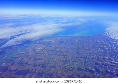 Aerial view of Windsor, Canada, the Detroit River and the Lake St Clair