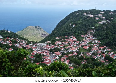 Aerial view of Windwardside Village on the island of Saba, Caribbean