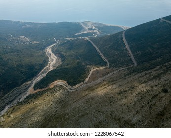 Aerial view of windy road in the Llogara National Park, Albania (Vlora, Albanian Riviera)