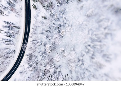 Aerial view of winter beautiful landscape road with trees covered with hoarfrost and snow. Winter scenery from above. Landscape photo captured with drone.