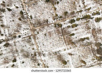 aerial view of the winter  graveyard in wroclaw city in Poland