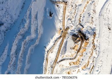 aerial view  the winter  quarry in Lipova Lazne in Czech Republic