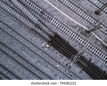 Aerial View of Winter Railroad