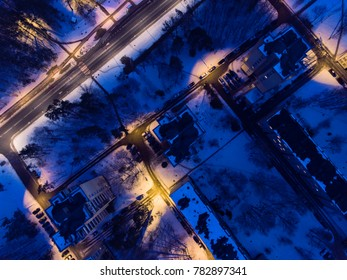 Aerial view of winter season in Druskininkai city, Lithuania. Snowy city scape at sunset. Snowy city scape at sunset.