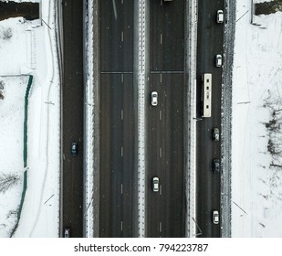 Aerial view of winter snowy road in Moscow, Russia