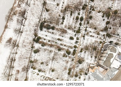 aerial view of the winter wroclaw city in Poland