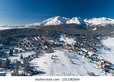 aerial view of winter Zabljak small town in Montenegro