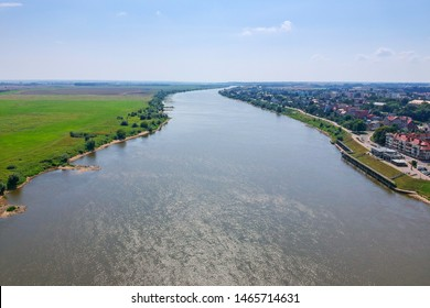 Aerial view of Wisla river in Tczew, Poland