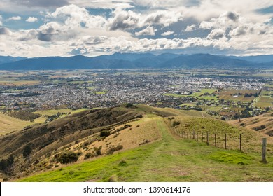 aerial view of Wither Hills with Blenheim town in South Island, New Zealand