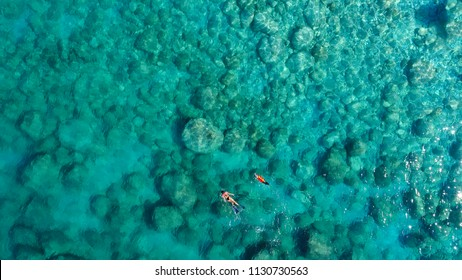 Aerial view of a woman and her dog swimming in the clear waters of the greek sea
