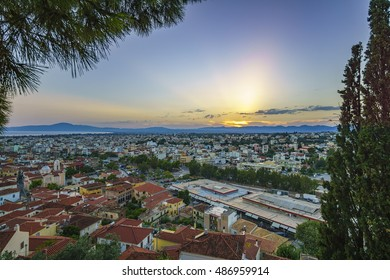 Aerial view of the wonderful old town of Kalamata City, taken from the old Castle at Sunset. Messinia, Greece
