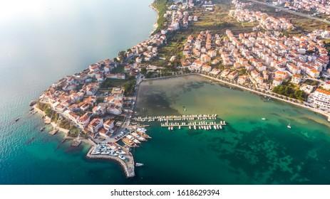 Aerial view, wonderful town of Stobrec, right next to Split, Croatia