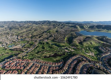 Aerial view of Wood Ranch neighborhood near Los Angeles in suburban Simi Valley, California.