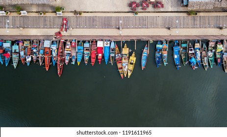 Aerial view Wooden boat in the canal