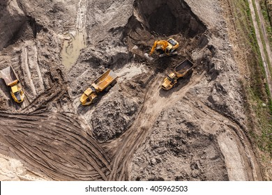Aerial view of the working earth mover in Poland