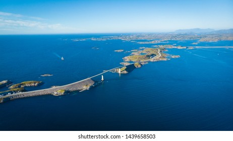 Aerial view. World famous Atlantic road bridge Atlanterhavsvegen in Norway Europe. Norwegian national scenic route. Tourist attraction.