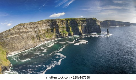 aerial view of the world famous cliffs of moher in county clare ireland. Cliffs of Moher Global Geopark designated as a UNESCO site aloing the wild atlantic way. Irish geotourism travel attraction.