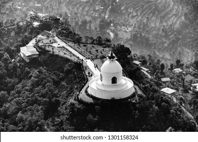 Aerial view of the World Peace Pagoda in Pokhara, Nepal. Black and white photography.