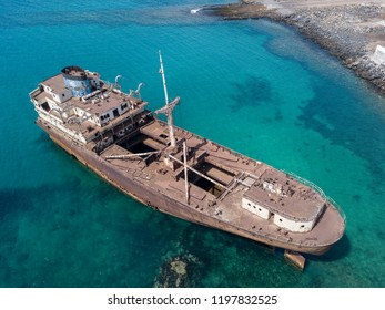 Aerial view of a wreck of a ship in the Atlantic ocean. Details of the ship seen closely. Wreck of the Greek cargo ship: Telamon; near Arrecife in Lanzarote, Canary Islands, Spain