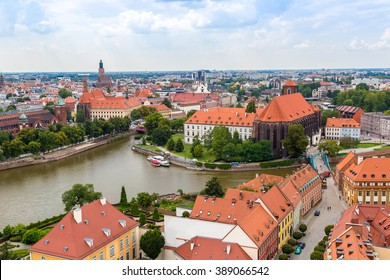 Aerial view of Wroclaw  in summer day from  Cathedral St. John in Poland
