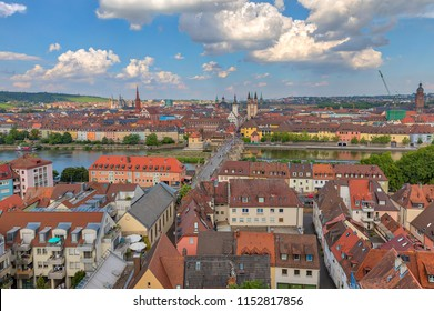 Aerial view of Wuerzburg cityscape from the view platform of Marienberg Fortress on a sunny summer day, Wuerzburg, Bavaria, Germany