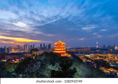 Aerial view of  Wuhan city .Panoramic skyline and buildings beside yangtze river.