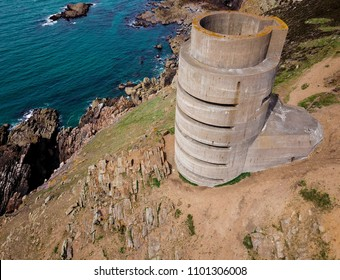 Aerial view of WW2 German (MP3) Naval Tower, Jersey