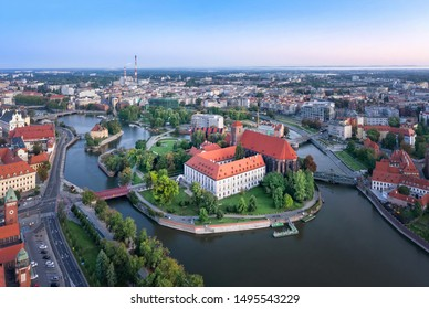 Aerial view of Wyspa Piasek (or Sand Island) in the Odra river, Wroclaw, Poland - Shutterstock ID 1495543229