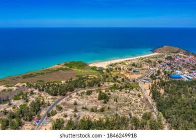 "Aerial view of Xep beach, filming site "" Toi Da Thay Hoa Vang Tren Co Xanh "", Phu Yen, Vietnam"