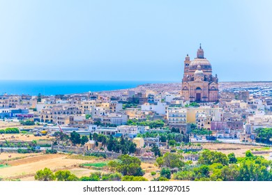 Aerial view of Xewkija with the Rotunda St. John Baptist, Gozo, Malta