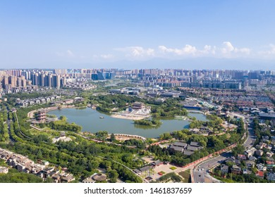 aerial view of xian cityscape, tang dynasty style park, China