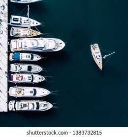 Aerial View of Yacht Club and Marina. White Boats and Yachts. Photo made by drone from above.