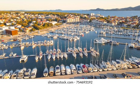 Aerial View of Yacht Club and Marina in Croatia, 4K. Biograd na moru
