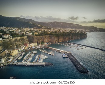 Aerial view of yacht harbour in Italy.