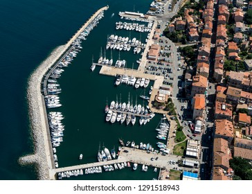 Aerial view of yacht harbour in Propriano on the french island Corsica in the Mediterranean Sea. A lot of yachts and ships are in the marina