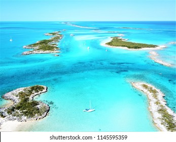 Aerial view of yachts anchored at Allans Cay in the Exuma Islands of the Bahamas