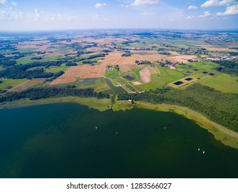 Aerial view of yachts sailing on Mamry Lake, Mazury, Poland